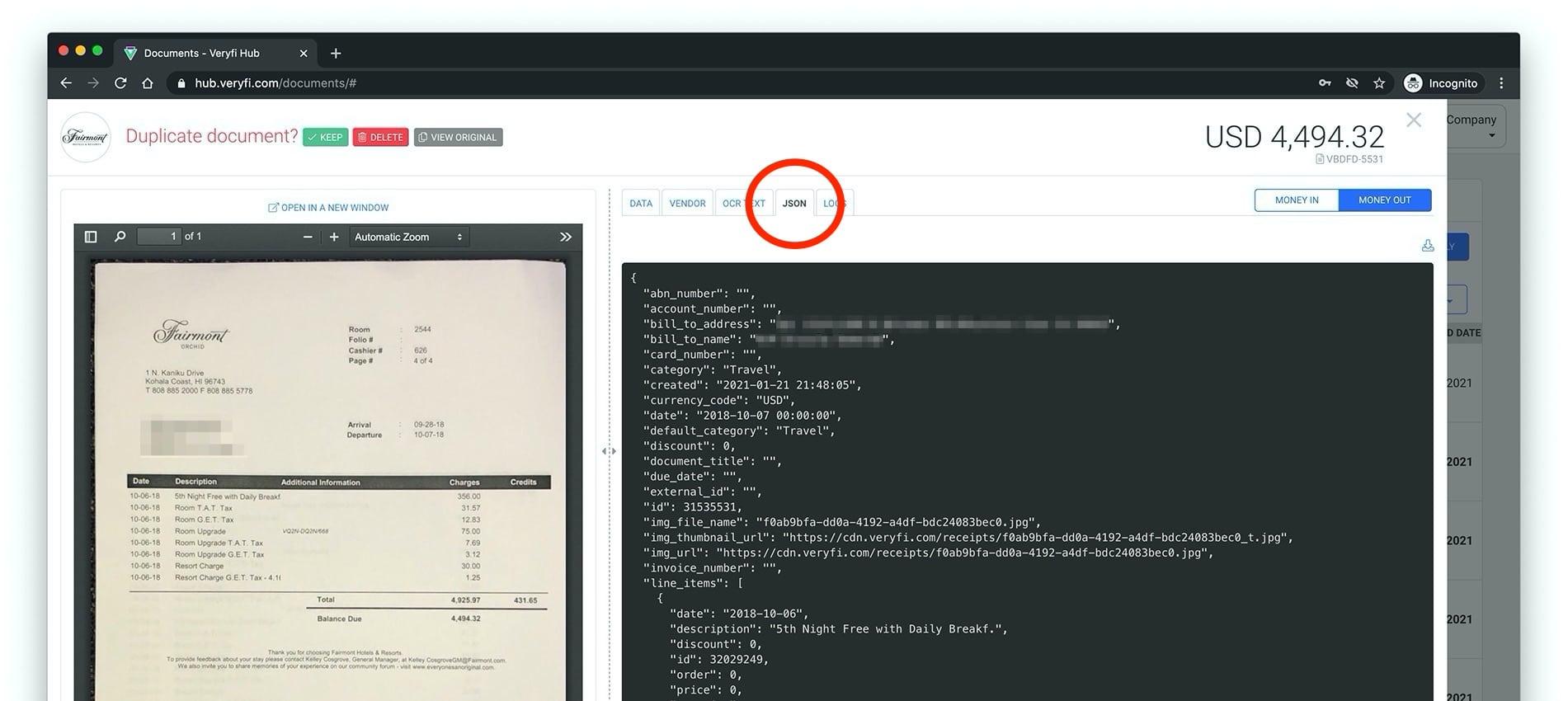 Veryfi API Portal list of fields Veryfi API extracts